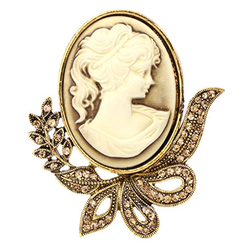 (Tebatu Brooch Pin,Vintage Design Queen Style Princess Lady Cameo Brooch Pin Wedding Party Gifts Gold)