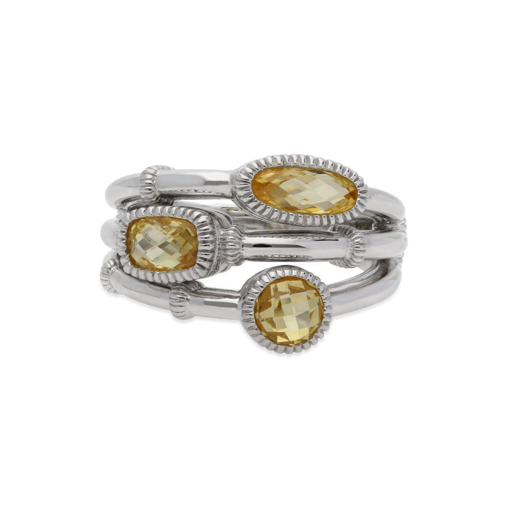 JUDITH RIPKA Sanibel Faceted Canary Crystal Faux Stack Ring