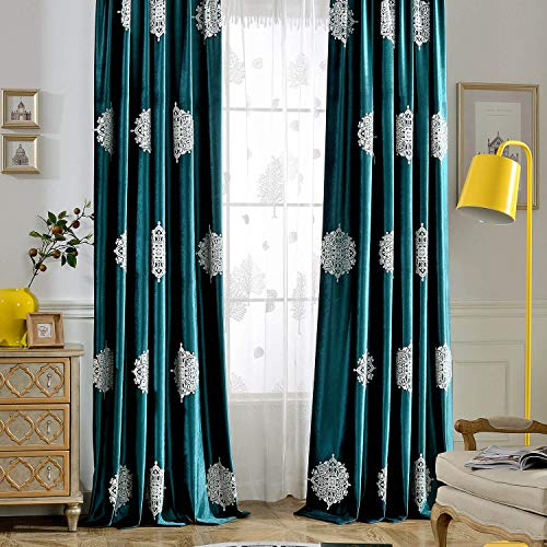 VOGOL 2 Pieces Vintage Flower Embroidered Curtains Soft Luxury Velvet Blackout Curtain for Bedroom & Living Room, 52x96, White Floral in Dark Green