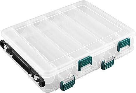 OhhGo Cajas de Aparejos de Pesca de plástico de Dos Lados 12 Compartimentos Caja de Almacenamiento de Pesca Organizador señuelo de Gran Capacidad Estuche Transparente 20 x 15.5 x 4.5 cm: Amazon.es: