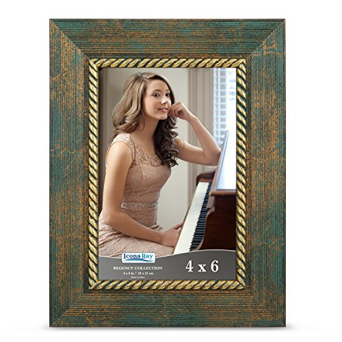 Icona Bay 4x6 Picture Frame (4 x 6, 1 Pack, Jade Green) Photo Frame, Wall Mount Table Top, Black Velvet Back, Landscape as 6x4 Picture Frame Portrait as 4x6, Regency Collection
