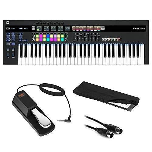 Novation SL MkIII 61-Note MIDI CV Keyboard Controller/Sequencer with Sustain Pedal (Piano Style), Keyboard Cover & MIDI…