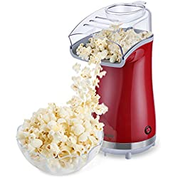 Excelvan Hot Air Popcorn Popper Electric Machine Maker 16 Cups of Popcorn, with Measuring Cup and Removable Lid, Red