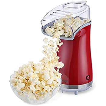 Excelvan Hot Air Popcorn Popper Electric Machine Maker 16 Cups of Popcorn, with Measuring Cup and Removable Lid (Red)