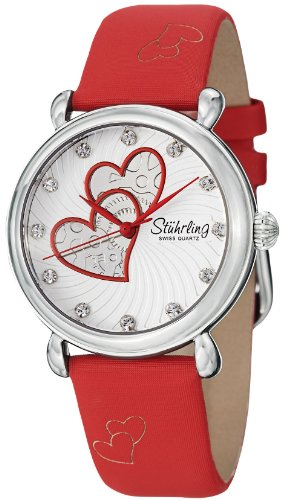 Stuhrling Original Women's 120.1115H2 Amour Aphrodite Cordelia Swiss Quartz Swarovski Crystal Red Watch