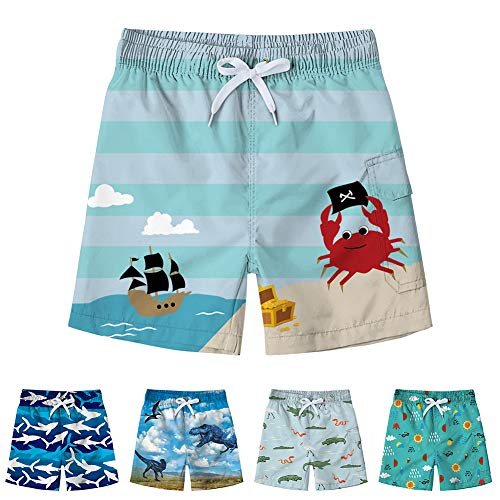 Freshhoodies Kids Boys Swim Trunks with Mesh Lining 3D Cute Pattern Print Beach Shorts Sailboat Tropical Vacation Swim Shorts (Submarine-2, 6-8T) (Pants Treasure Beach)