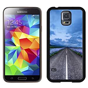Fashionable And Unique Designed Cover Case For Samsung Galaxy S5 I9600 G900a G900v G900p G900t G900w With Blue Flower Field Highway_Black Phone Case
