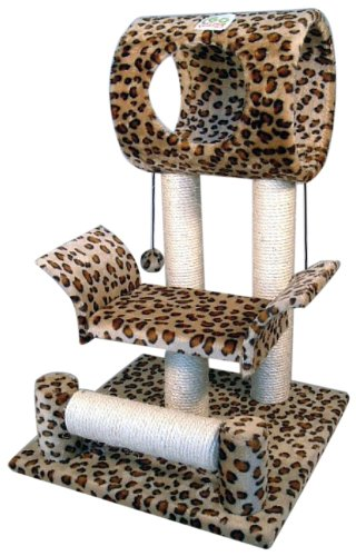 Go Pet Club Cat Tree Condo House, 18W x 17.5L x 28H Inches, Leopard