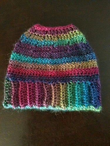 Rainbow Ponytail/Messy Bun Beanie