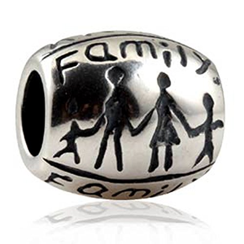 Luckybeads Family Charm 925 Sterling Silver Beads The Whole Family Charm fit for DIY Charms Bracelets - 3 Sons Pandora Charms
