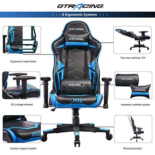 Gtracing Gaming Chair Ergonomic Racing Chair Pu Leather
