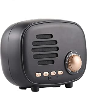 Retro Mini Wireless Bluetooth Speaker Supports Hands-Free Call/TF Card/U Disk/FM,Black
