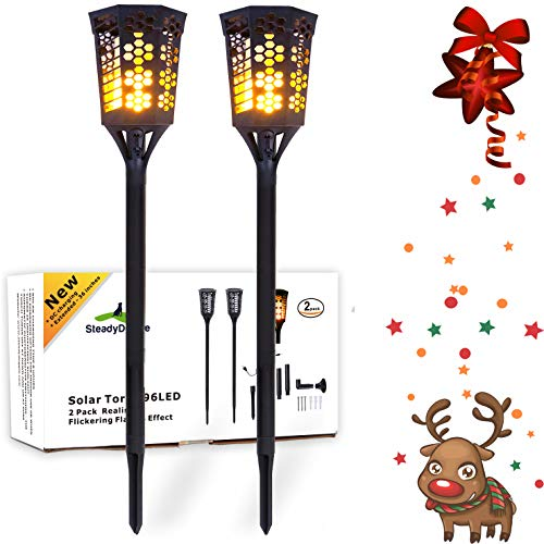 SteadyDoggie LED Tiki Torches 2 Pack| Flickering Flame Solar Torch Landscaping Light Kit | Upgraded with USB Charging & L Mounts | Dusk-to-Dawn Dancing Flames | Solar Tiki Torches Outdoor Lighting