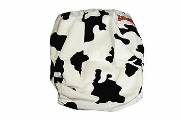 Minky Bamboo Pocket Snaps Cloth Diaper/ Nappy - OS - BLACK COW PRINTS (2