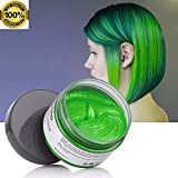 #9: MOFAJANG Green Hair Color Wax for Short Hair, Temporary Hairstyle Cream 4.23 oz Hair Pomades, Natural White Hairstyle Wax for Party, Cosplay, Halloween, Date (Green)