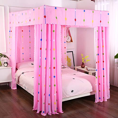 Mengersi Wind Chimes Four Corner Post Bed Curtain Canopy Bedroom Decoration for Girls Adults Windproof Lightproof Bed Canopies Child Gift (Full,Pink)
