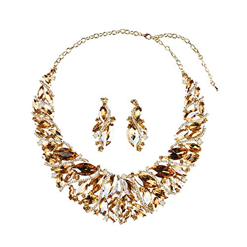 - Hamer Bridal Link Costume Jewelry Crystal Choker Pendant Bib Statement Chain Charm Necklace and Earrings Sets (Champagne)