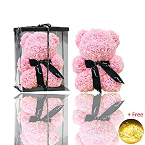 Kicpot Teddy Hug Bear Eternal Rose, Valentine 's Day Artificial Rose Gifts for Girlfriend, Anniversary, Wedding, Graduation and Birthday Gifts 7