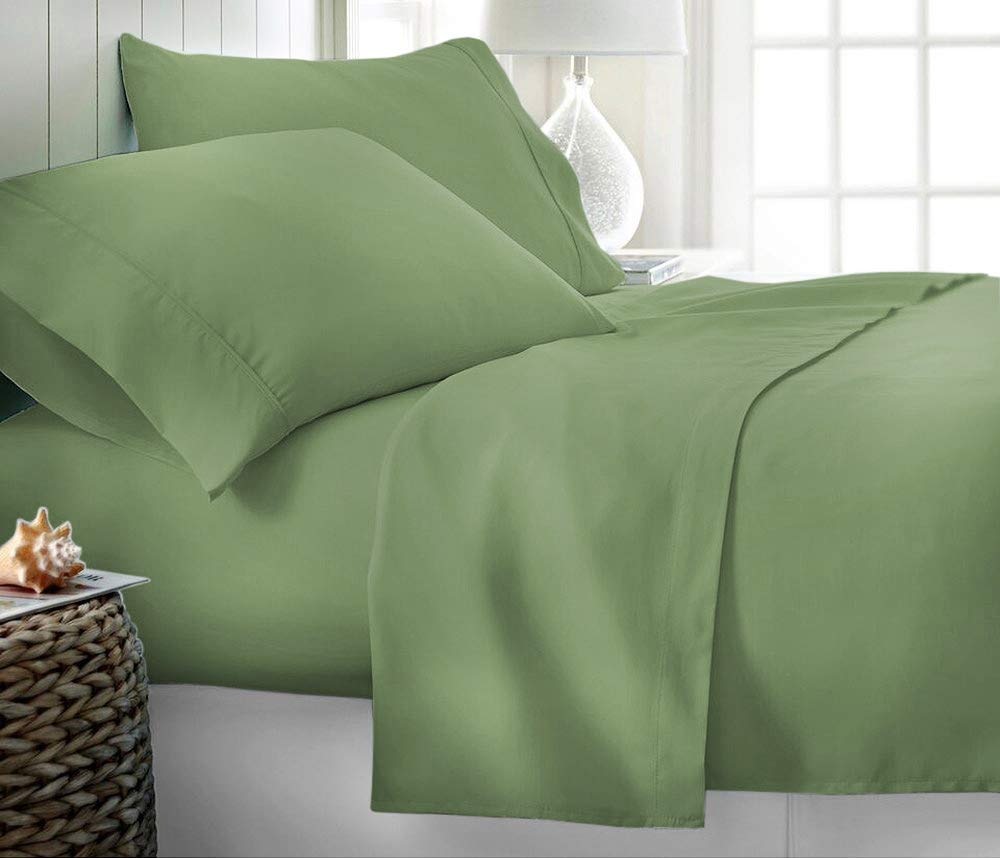 Sage King Size Homelux Organic Earth Aloe Vera Bamboo Essence 6 Piece Sheet Set