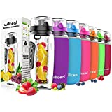 Willceal Fruit Infuser Water Bottle 32oz Durable, Large - BPA Free Tritan, Flip Lid, Leak Proof Design - Sports, Camping (Black)