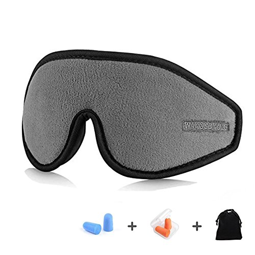 GINIMAX 3D Sleep Eye Mask Cover with Ear Plugs, Light Blocking Memory Foam Eye Mask with Adjustable Strap for Sleeping/Shift Work/Naps/Night Blindfold Eyeshade for Men and Women