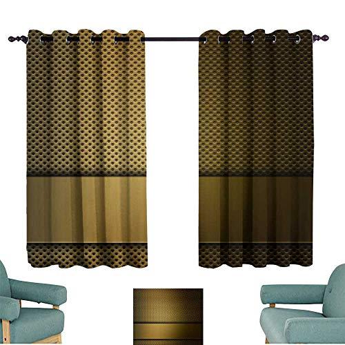(Warm Family Customized Curtains Background Golden Metallic Shiny Metal Grid Design 70%-80% Light Shading, 2 Panels,)