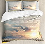 Safari Decor King Size Duvet Cover Set by Ambesonne, Zebras Africa Exotic Wildland Natural Distant Forest Morning View Scenic Picture Print, Decorative 3 Piece Bedding Set with 2 Pillow Shams