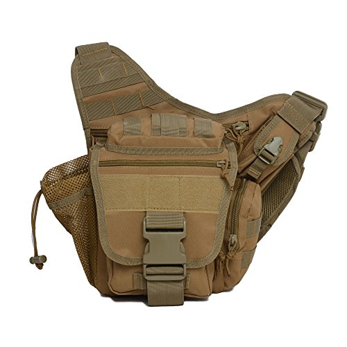 Mini Crossbody Molle Pouch Waterproof Camping Hiking Bags Sport Bag Outdoor Military Backpack Durable Rifle Bag (Soil) by Greewood