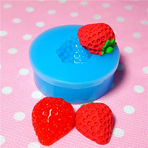 001LBS Strawberry (Half) Silicone Mold Flexible Mold Miniature Food, Sweets, Jewelry, Charms (Clay Fimo Resin Gum Paste Fondant)