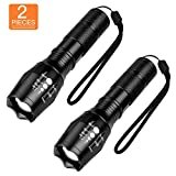 LED Tactical Flashlight 2-Pack, SHINE HAI 1000Lumens Bright Handheld Flash Light, High Powered 5 Modes Adjustable Focus and Zoomable Torch Light, Outdoor Water Resistant for Emergency Camping Hiking