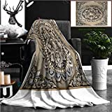 """Nalagoo Unique Custom Flannel Blankets Decorative Art Of Lanna Thai Engraving Of The Silver Value Super Soft Blanketry for Bed Couch, Twin Size 70"""" x 60"""""""