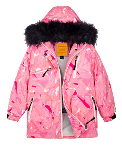 Junior Girls Ski Jacket - Wantdo Girls Water Resistant Skiing Jacket Outdoor Hiking Rain Jacket Pink 8