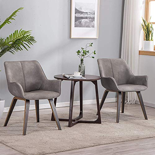 YEEFY Leather Living Room Chairs Modern Upholstered Accent Chairs Dining Room, Set of 4 (Ashen)