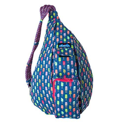 KAVU Rope Bag Shoulder Sling Cotton Crossbody Backpack - Popsicle Party