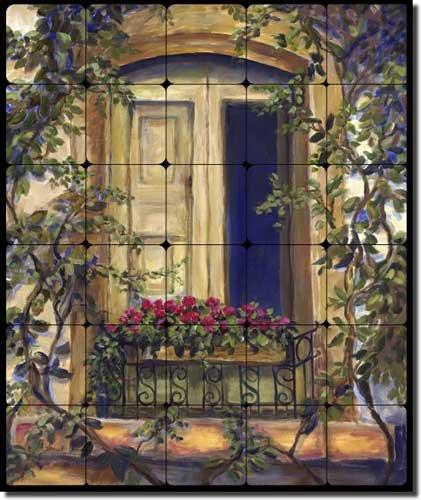 Chianti Door by Joanne Morris Margosian - Tuscan Tumbled Marble Tile Mural 24'' x 20'' Kitchen Shower Backsplash
