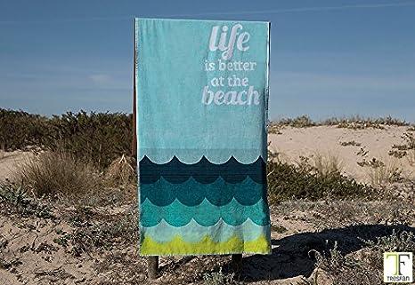 Sorema Toalla de Playa Grande Multicolor 100x180cm con Frase. en Tonos Azules y Verdes Tejido