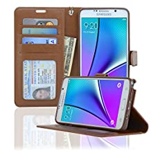 Samsung Galaxy Note 5 Case NAVOR® Wallet Case Card Slots, Money Pocket - Brown