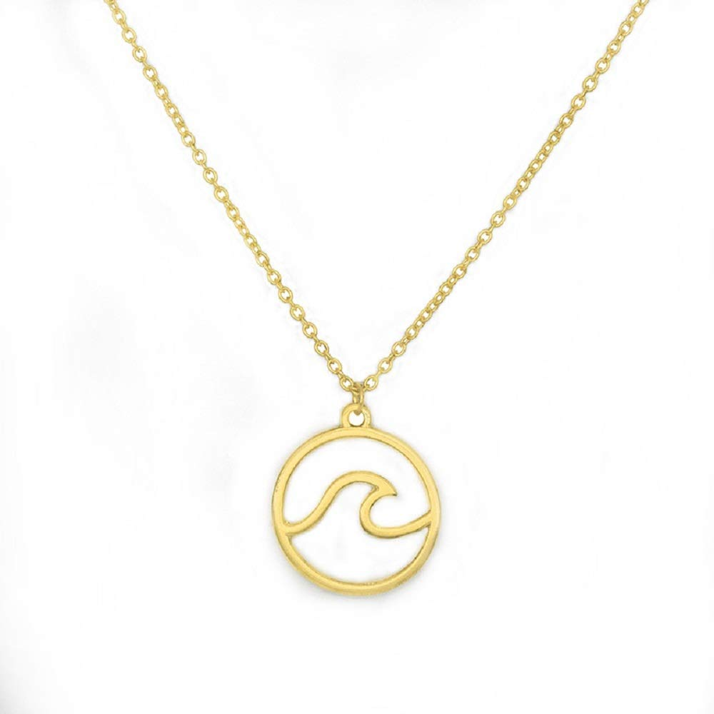 Simple Ocean Wave Pendant Necklace Surfing Sea Surfing Hawaii Circle for Women Hawaiian Beach Lover Jewelry Mine
