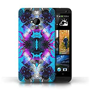 KOBALT? Protective Hard Back Phone Case / Cover for HTC One/1 M7 | Purple/Blue Floral Design | Symmetry Pattern Collection