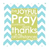 Teal and White Chevron Pattern Bible Verse Pillowcase, Be Joyful Always Pray Continually Give Thanks in All Circumstances 1Thess. 5:16-18 Cushion Case – Throw Pillow Case Decor Cushion Covers Square with Hidden Zipper Closure – 18×18 inches, One-sided Print