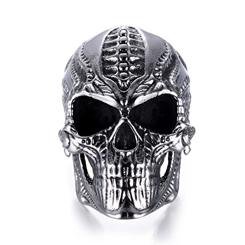 Eejart Stainless Steel Alien Skull Ring, Suitable for Hiphop Biker Men's Domineering Punk Ring, the Premium Fashion Forward Band Ring for Man (silver, 9)