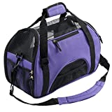 Pettom Pet Carrier for Dogs & Cats Comfort Airline Approved Travel Tote Soft Sided Bag Purple