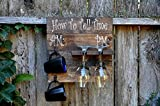 Cheap Rustic Pallet Wood Coffee Mug and Wine Glass Holder Combo Rack Wall Mounted