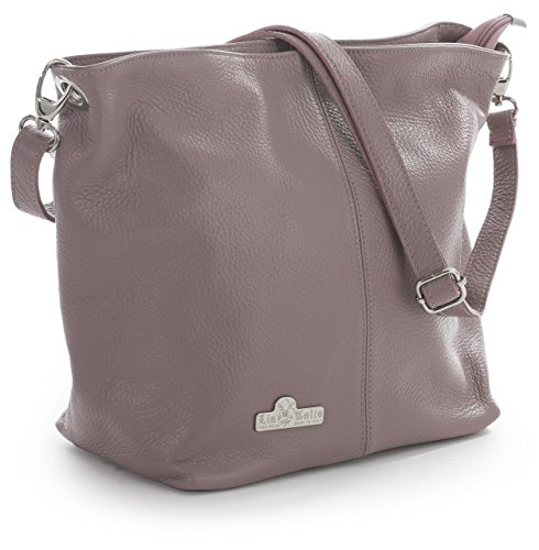 Bag with LiaTalia Shoulder Italian Medium Genuine Adal Leather Hobo Storage Protective Bag Dusty Pink Womens Yw0Y8xp