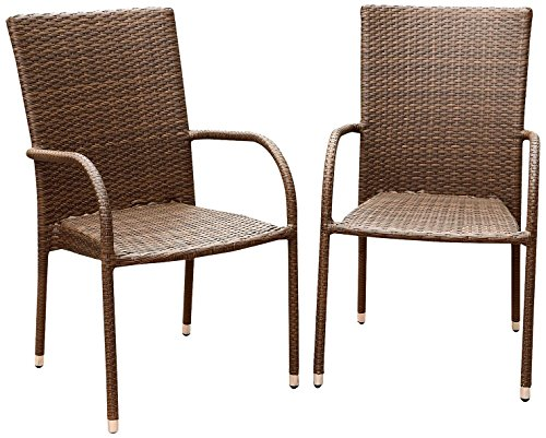 Abbyson Palermo Outdoor Wicker Dining Armchair, Brown, Set of 2 For Sale