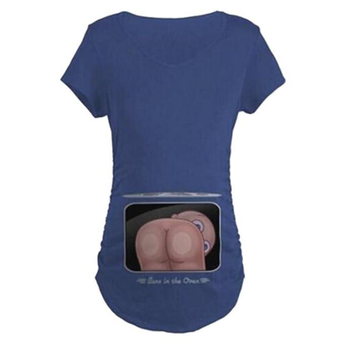 Highdas Mujeres Embarazadas Camisa Larga Suelta con Divertidos patrón Divertido Azul/XL