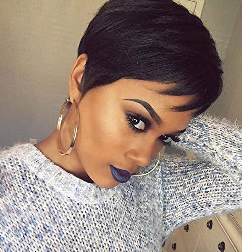 Beauty : Naseily Short Pixie Cut Hair Wig Short Black Hair Wigs High Temperature Synthetic Wigs For Black Women Short Black Wig