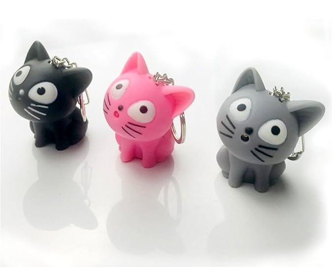 Amazon.com: LED Cute Kitty gato llavero con sonido y ...