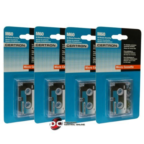 Certron M60 4-pcs Micro Cassete Recording Tape 60 Minutes - Compatible with: Panasonic RR-900 Transcriber Panasonic RR-930