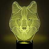 Creative 3D Wolf Night Light 7 Colors Changing USB Power Touch Switch Decor Lamp Optical Illusion Lamp LED Table Desk Lamp Children Kids Brithday Christmas Gift